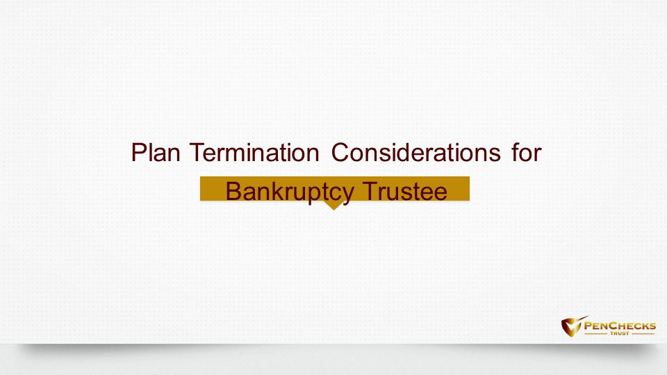 Plan Termination Considerations for Bankruptcy Trustee