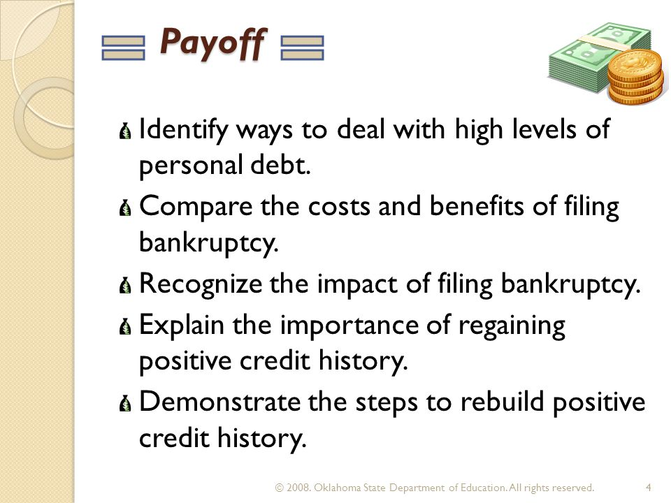 Top Reasons for Bankruptcy Divorce Illness Gambling Unemployment Failing to pay taxes Excessive medical bills 15 © 2008.