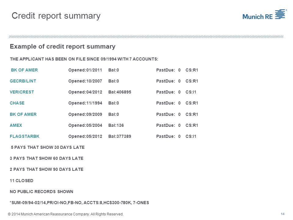 Credit report summary Example of credit report summary THE APPLICANT HAS BEEN ON FILE SINCE 09/1994 WITH 7 ACCOUNTS: BK OF AMEROpened:01/2011 Bal:0PastDue: 0CS:R1 GECRB/LINTOpened:10/2007 Bal:0PastDue: 0CS:R1 VERICRESTOpened:04/2012 Bal:406895PastDue: 0CS:I1 CHASEOpened:11/1994 Bal:0PastDue: 0CS:R1 BK OF AMEROpened:09/2009 Bal:0PastDue: 0CS:R1 AMEXOpened:05/2004 Bal:136PastDue: 0CS:R1 FLAGSTARBKOpened:05/2012 Bal:377389PastDue: 0CS:I1 5 PAYS THAT SHOW 30 DAYS LATE 3 PAYS THAT SHOW 60 DAYS LATE 2 PAYS THAT SHOW 90 DAYS LATE 11 CLOSED NO PUBLIC RECORDS SHOWN *SUM-09/94-02/14,PR/OI-NO,FB-NO, ACCTS:8,HC$300-780K, 7-ONES 14 © 2014 Munich American Reassurance Company.