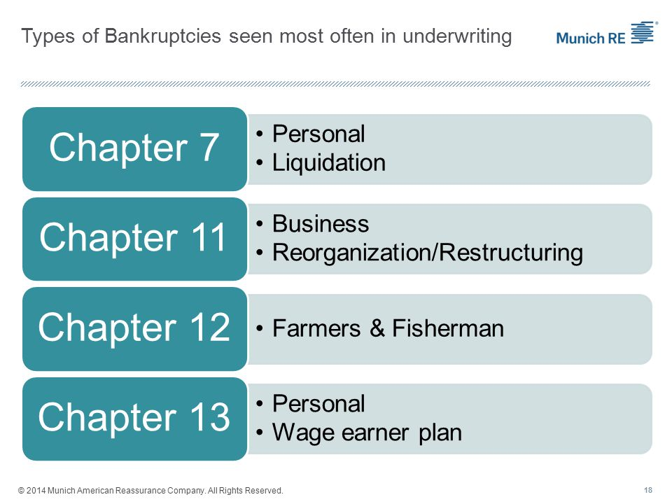 Types of Bankruptcies seen most often in underwriting Personal Liquidation Chapter 7 Business Reorganization/Restructuring Chapter 11 Farmers & Fisherman Chapter 12 Personal Wage earner plan Chapter 13 18 © 2014 Munich American Reassurance Company.
