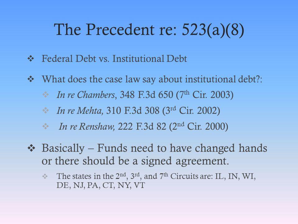 The Precedent re: 523(a)(8)  Federal Debt vs.