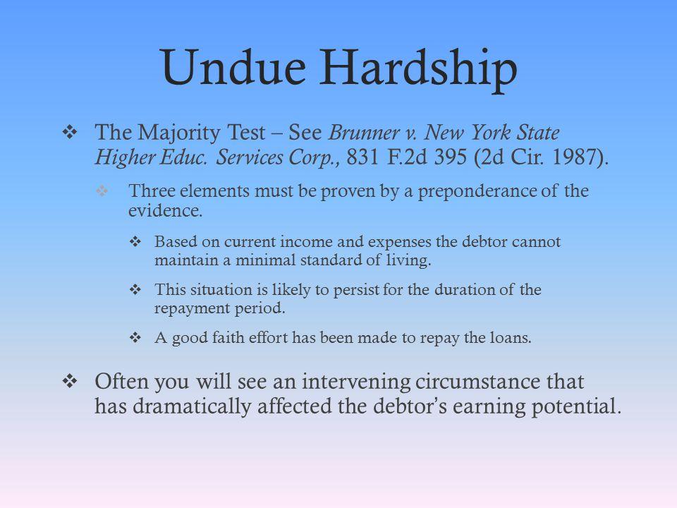 Undue Hardship  The Majority Test – See Brunner v.