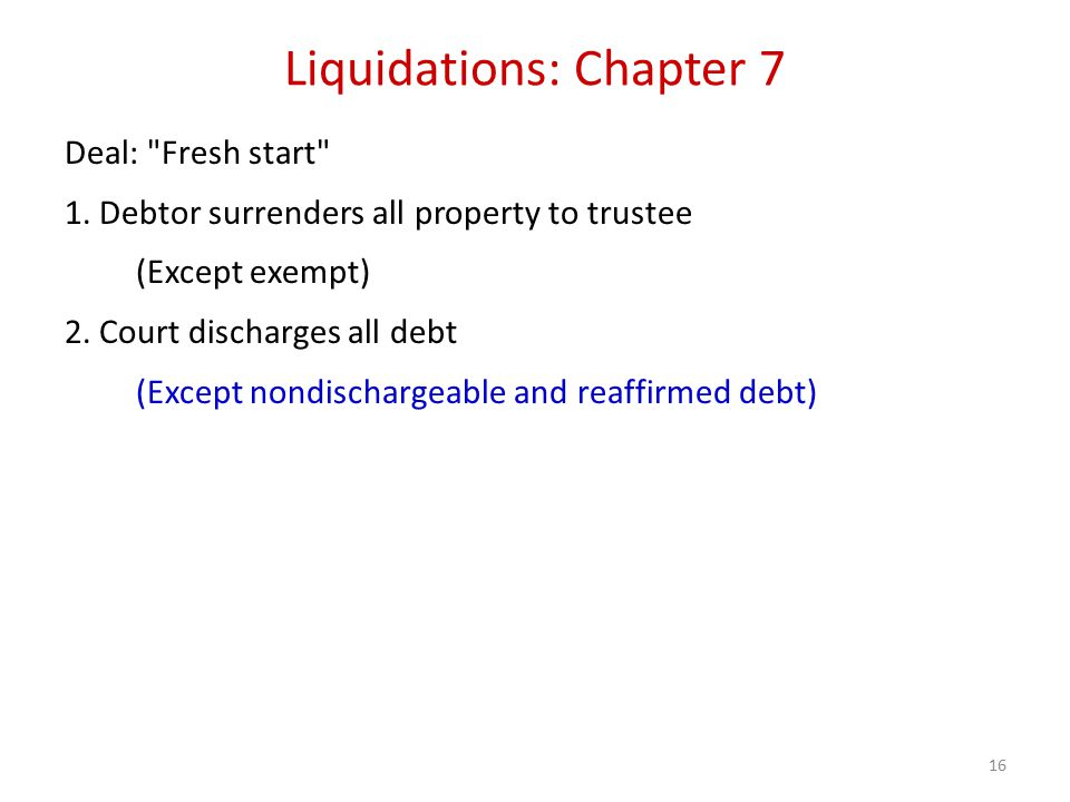16 Liquidations: Chapter 7 Deal: Fresh start 1.