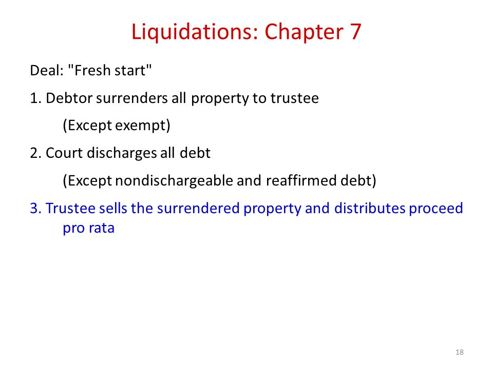 18 Liquidations: Chapter 7 Deal: Fresh start 1.