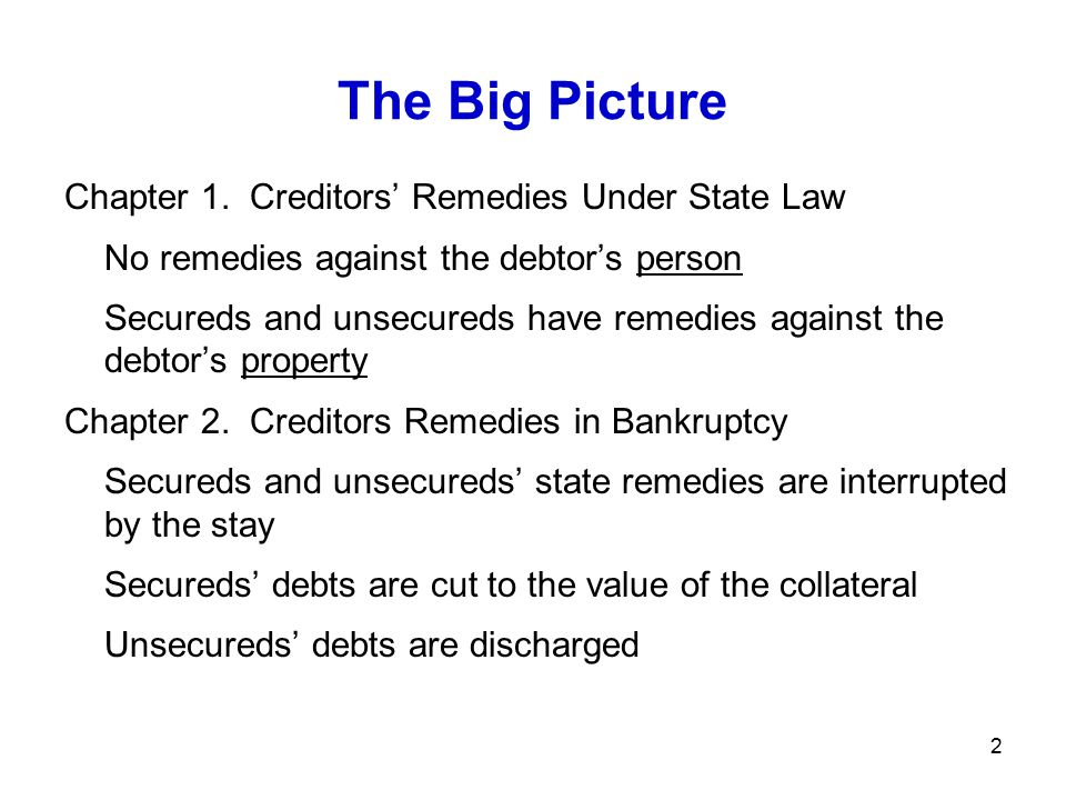 33 Bankruptcy Code §362(d) (d) [T]he court shall grant relief from the [automatic] stay: (1)For cause, including the lack of adequate protection of an interest in property of such party in interest [or] (2)With respect to a stay of an act against property...