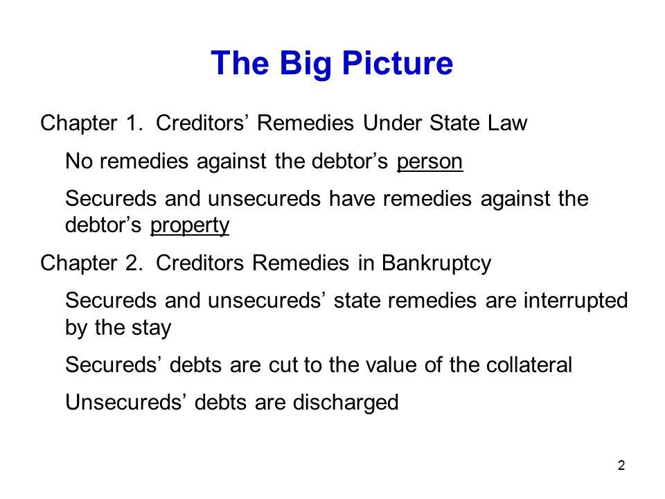 13 Liquidations: Chapter 7 Deal: Fresh start 1. Debtor surrenders all property to trustee