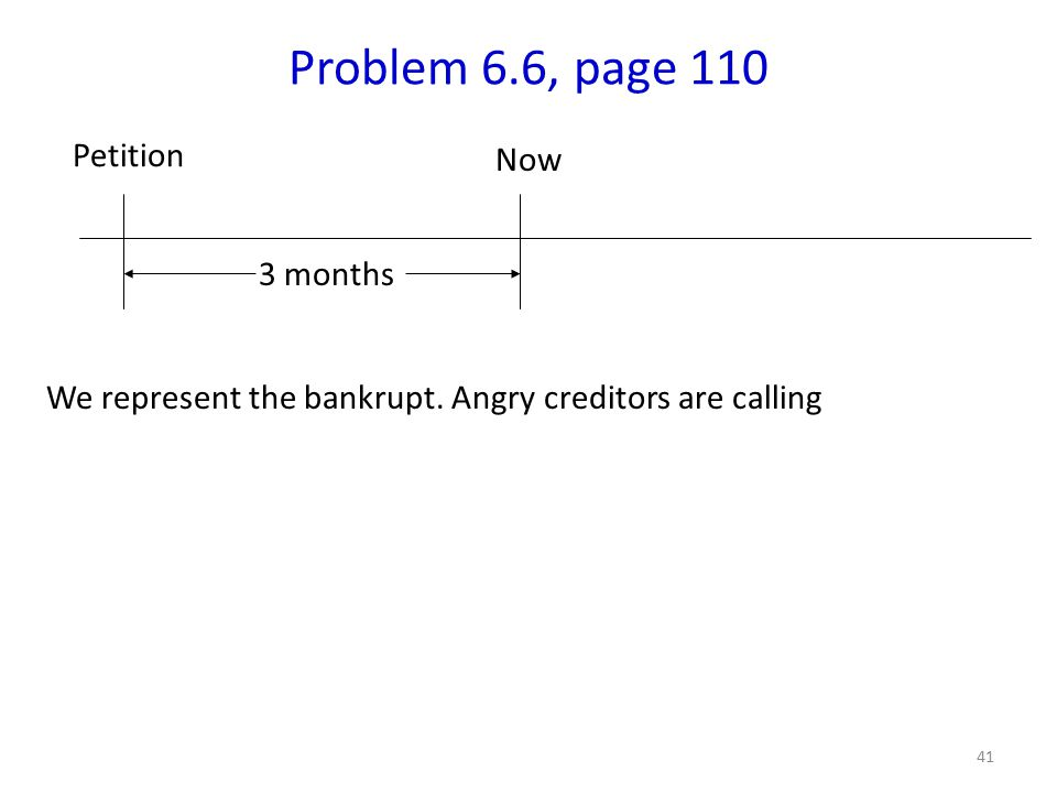 41 Problem 6.6, page 110 We represent the bankrupt.
