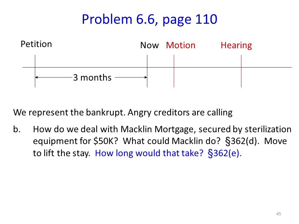 45 Problem 6.6, page 110 We represent the bankrupt.