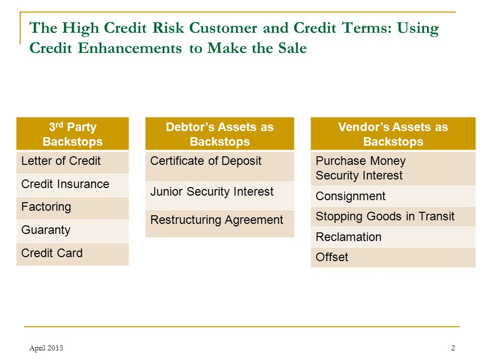 13 The High Credit Risk Customer and Credit Terms: Using Credit Enhancements to Make the Sale Perfecting Consignment April 2015 1.