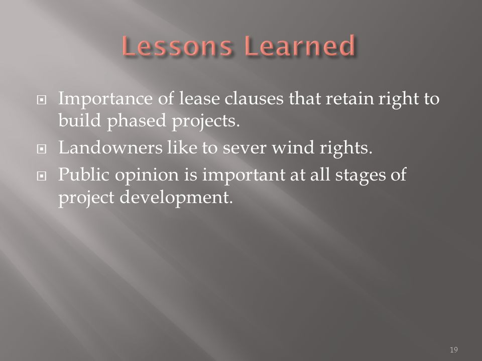  Importance of lease clauses that retain right to build phased projects.