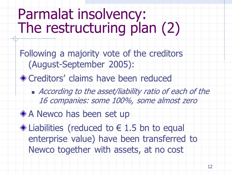 12 Parmalat insolvency: The restructuring plan (2) Following a majority vote of the creditors (August-September 2005): Creditors' claims have been red