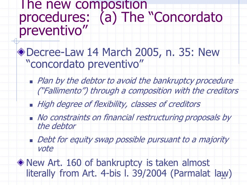 "21 The new composition procedures: (a) The ""Concordato preventivo"" Decree-Law 14 March 2005, n. 35: New ""concordato preventivo"" Plan by the debtor to"