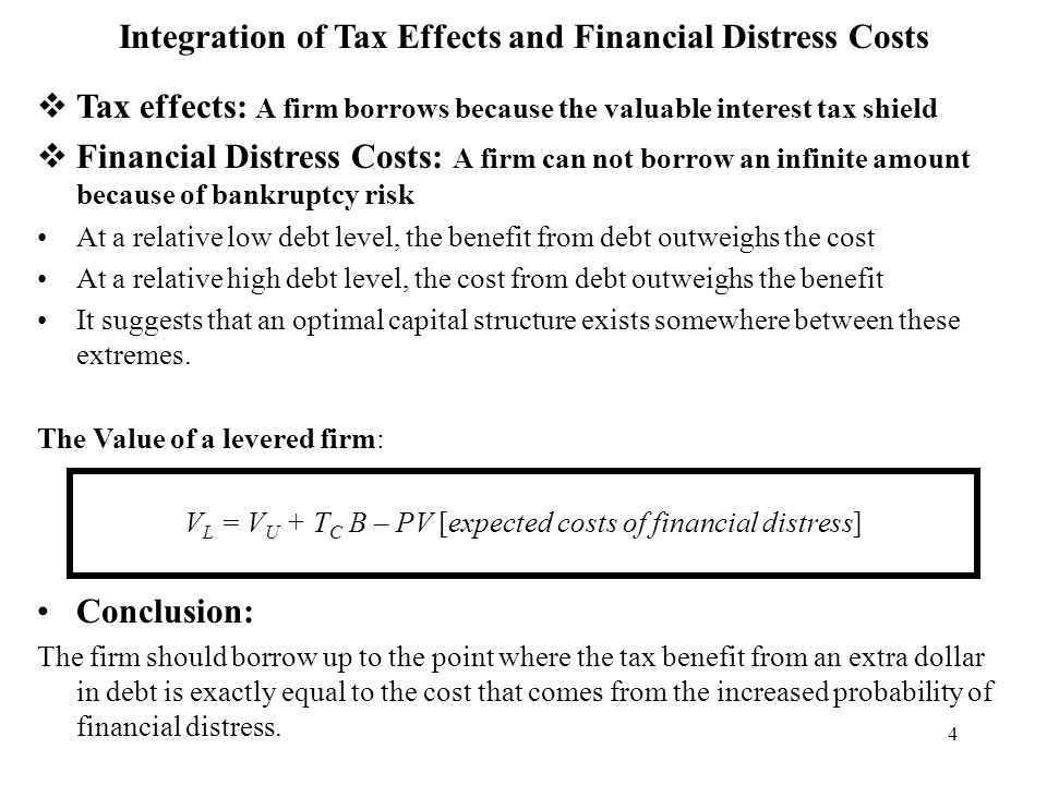 4 Integration of Tax Effects and Financial Distress Costs  Tax effects: A firm borrows because the valuable interest tax shield  Financial Distress