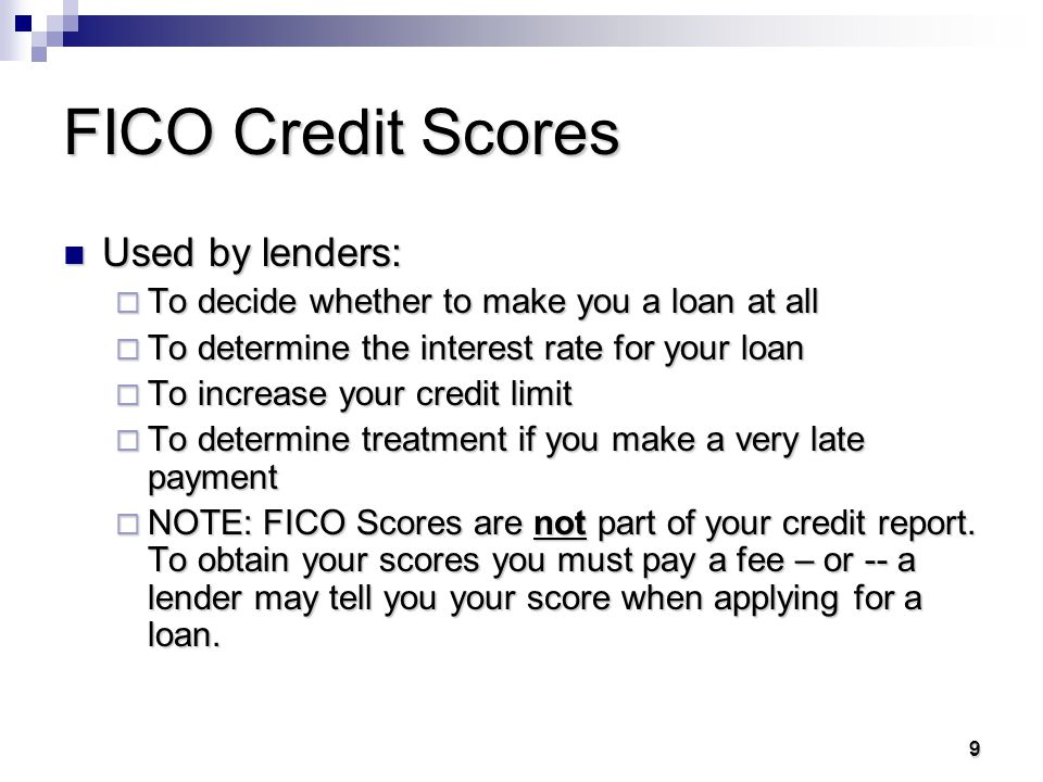 8 8 FICO Credit Scores An engineer, Bill Fair, and a mathematician, Earl Isaac, developed a measure of credit risk based on the contents of a person's credit report: they called it the FICO Score. An engineer, Bill Fair, and a mathematician, Earl Isaac, developed a measure of credit risk based on the contents of a person's credit report: they called it the FICO Score. Your FICO score is determined by past use of credit and is like your grade point average for credit use.