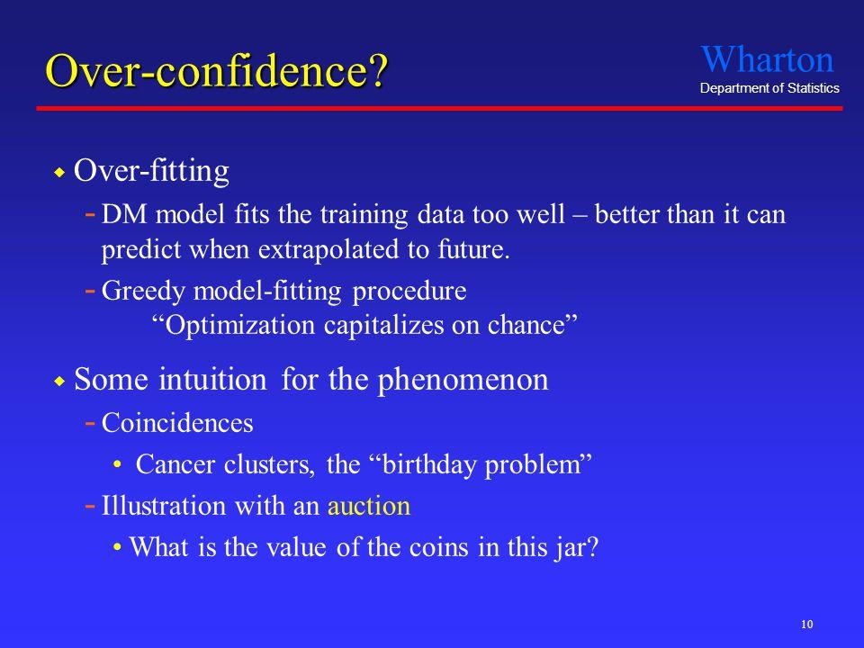 Wharton Department of Statistics 10 Over-confidence.