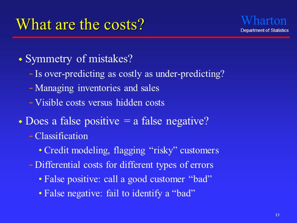 Wharton Department of Statistics 13 What are the costs.