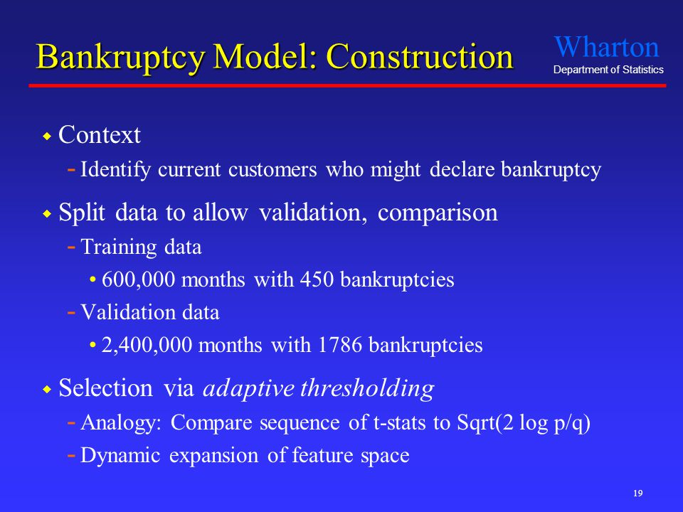 Wharton Department of Statistics 19 Bankruptcy Model: Construction  Context - Identify current customers who might declare bankruptcy  Split data to
