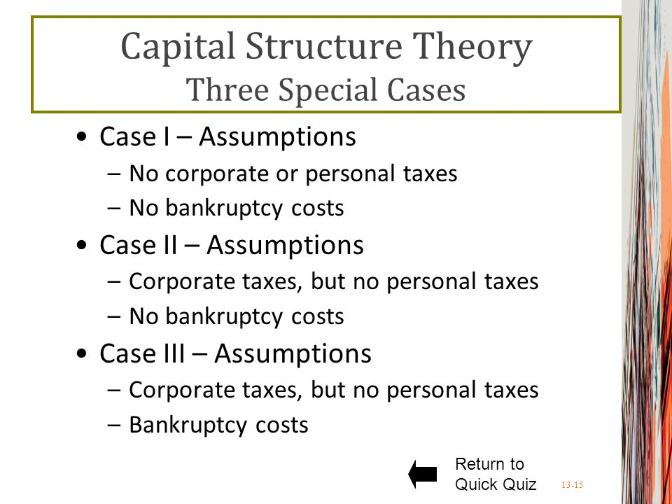 13-15 Capital Structure Theory Three Special Cases Case I – Assumptions –No corporate or personal taxes –No bankruptcy costs Case II – Assumptions –Corporate taxes, but no personal taxes –No bankruptcy costs Case III – Assumptions –Corporate taxes, but no personal taxes –Bankruptcy costs Return to Quick Quiz