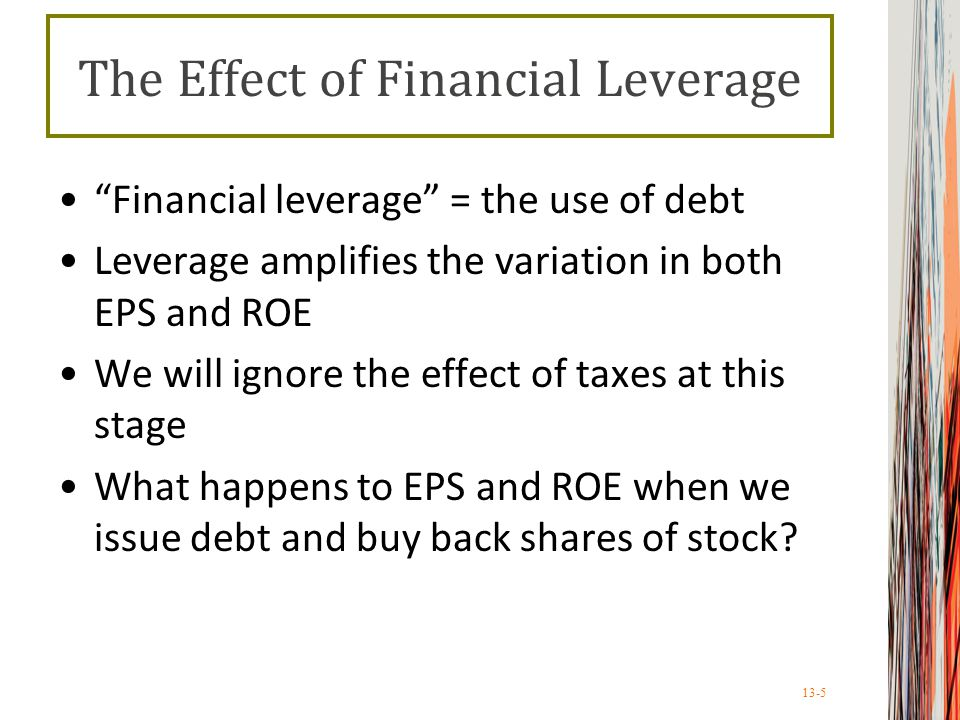 13-5 Financial leverage = the use of debt Leverage amplifies the variation in both EPS and ROE We will ignore the effect of taxes at this stage What happens to EPS and ROE when we issue debt and buy back shares of stock.
