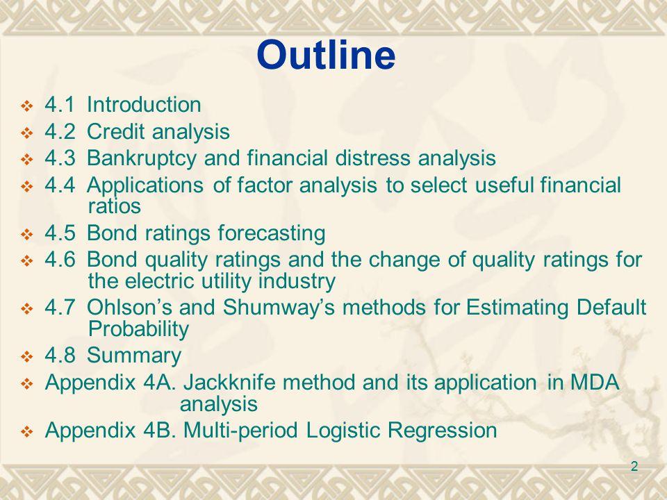 4.3Bankruptcy and financial distress analysis Year Type I Error Type II Error Total Error 196946.36%25.45%35.91% 197042.73%27.27%35.00% 197138.18%24.55%31.36% 197228.15%21.36%24.76% 13