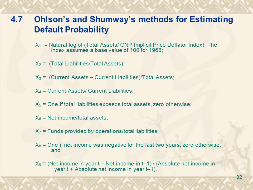4.7Ohlson's and Shumway's methods for Estimating Default Probability X 1 = Natural log of (Total Assets/ GNP Implicit Price Deflator Index).