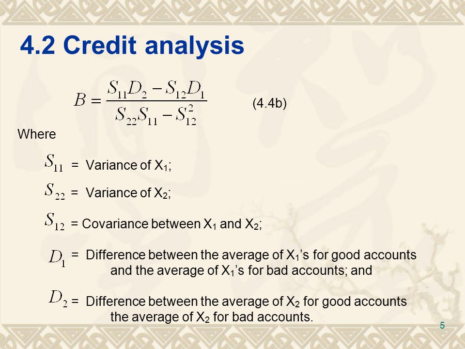 4.2Credit analysis TABLE 4.1 Status and index values of the accounts Account NumberAccount StatusYiYi 7Bad0.81 10Bad0.89 2Bad1.30 3Bad1.45 6Bad1.64 12Good1.77 11Bad1.83 4Good1.96 1Good2.25 8Good2.50 5Good2.61 9Good2.80 6