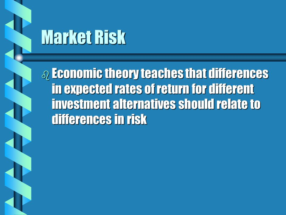Market Risk b Economic theory teaches that differences in expected rates of return for different investment alternatives should relate to differences in risk