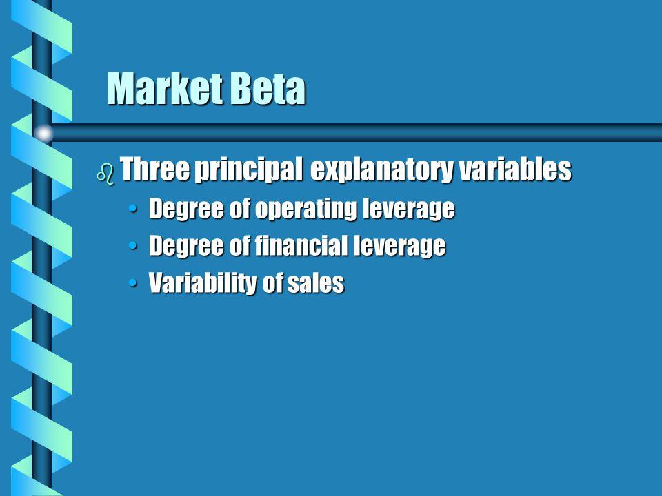 Market Beta b Three principal explanatory variables Degree of operating leverageDegree of operating leverage Degree of financial leverageDegree of financial leverage Variability of salesVariability of sales