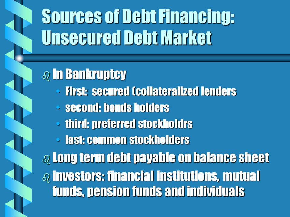 Sources of Debt Financing: Unsecured Debt Market b In Bankruptcy First: secured (collateralized lendersFirst: secured (collateralized lenders second: bonds holderssecond: bonds holders third: preferred stockholdrsthird: preferred stockholdrs last: common stockholderslast: common stockholders b Long term debt payable on balance sheet b investors: financial institutions, mutual funds, pension funds and individuals