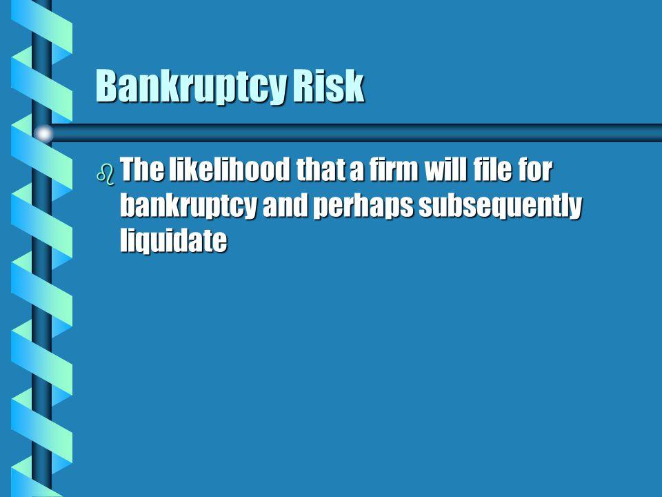 Multivariate Bankruptcy Prediction Models b Multiple Discriminant Analysis (MDA) b The best-known MDA bankruptcy prediction model is Altman's Z-score