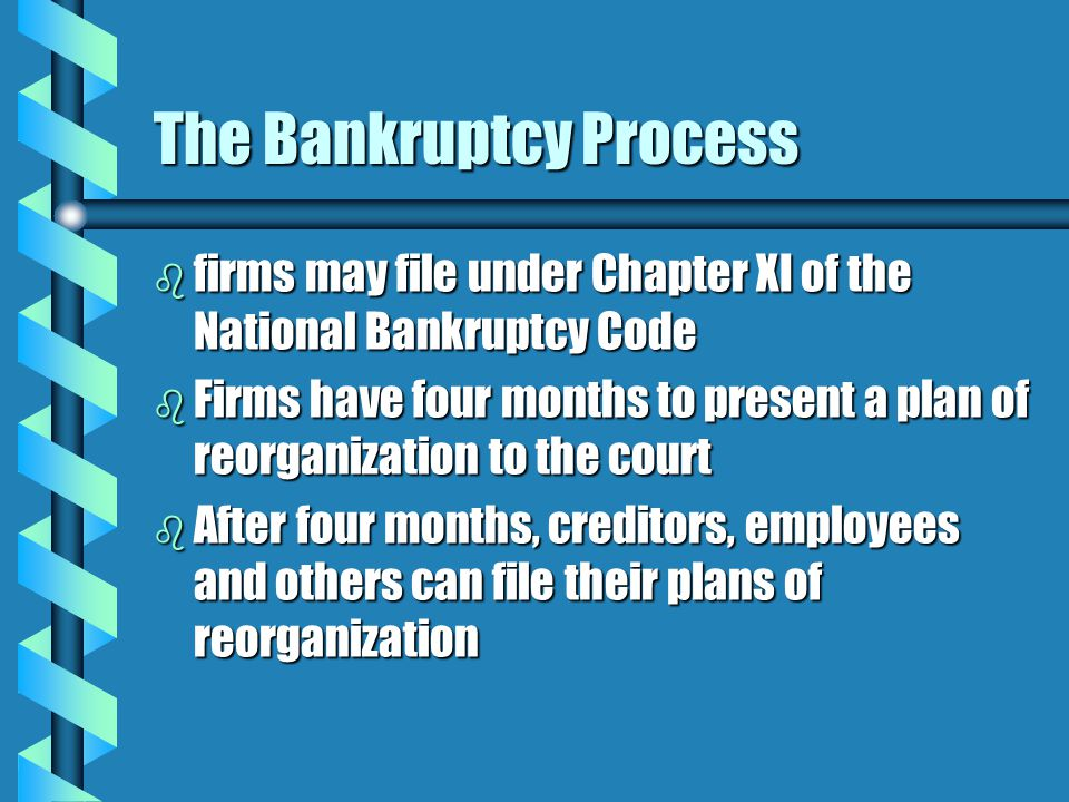 The Bankruptcy Process b firms may file under Chapter XI of the National Bankruptcy Code b Firms have four months to present a plan of reorganization to the court b After four months, creditors, employees and others can file their plans of reorganization