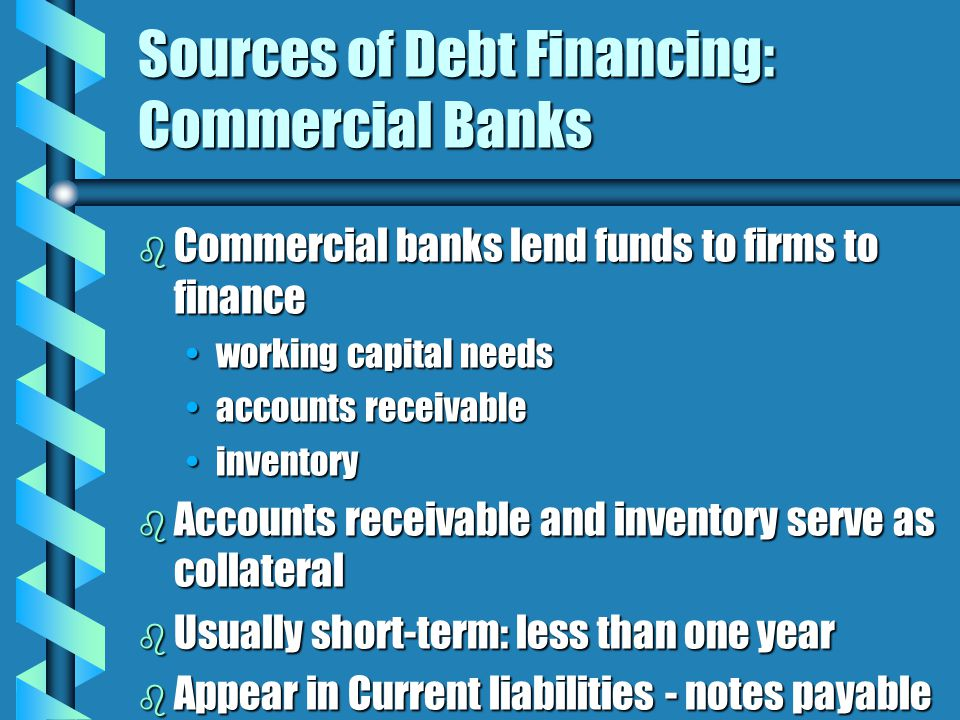 Sources of Debt Financing: Commercial Banks b Commercial banks lend funds to firms to finance working capital needsworking capital needs accounts receivableaccounts receivable inventoryinventory b Accounts receivable and inventory serve as collateral b Usually short-term: less than one year b Appear in Current liabilities - notes payable