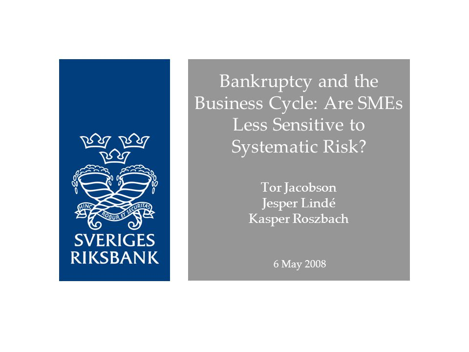 Bankruptcy and the Business Cycle: Are SMEs Less Sensitive to Systematic Risk.