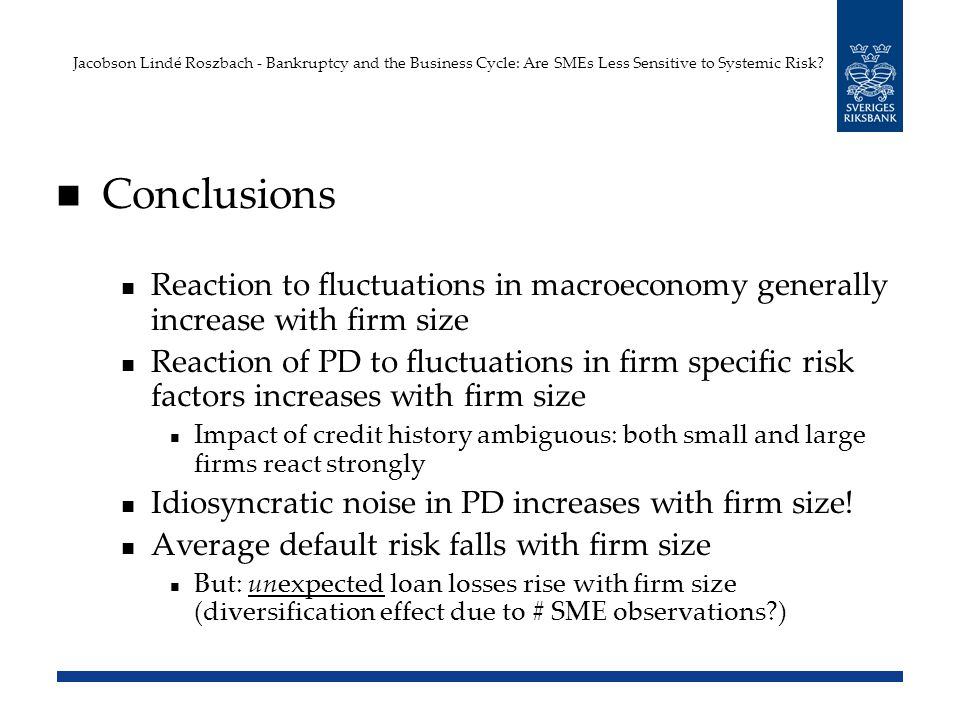 Conclusions Reaction to fluctuations in macroeconomy generally increase with firm size Reaction of PD to fluctuations in firm specific risk factors increases with firm size Impact of credit history ambiguous: both small and large firms react strongly Idiosyncratic noise in PD increases with firm size.