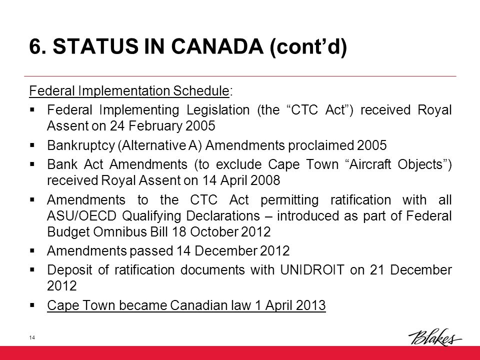 "6. STATUS IN CANADA (cont'd) Federal Implementation Schedule:  Federal Implementing Legislation (the ""CTC Act"") received Royal Assent on 24 February"