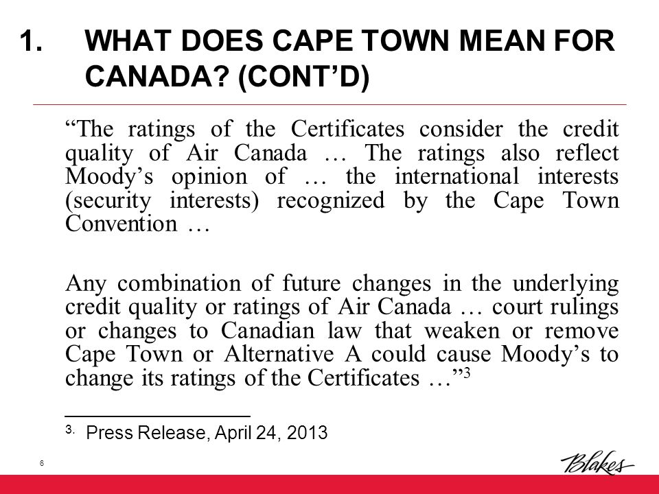 1.WHAT DOES CAPE TOWN MEAN FOR CANADA.