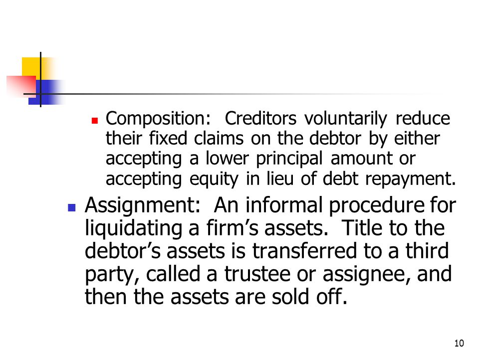 10 Composition: Creditors voluntarily reduce their fixed claims on the debtor by either accepting a lower principal amount or accepting equity in lieu