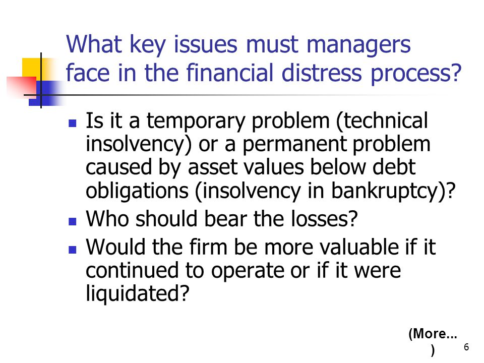 6 What key issues must managers face in the financial distress process? Is it a temporary problem (technical insolvency) or a permanent problem caused