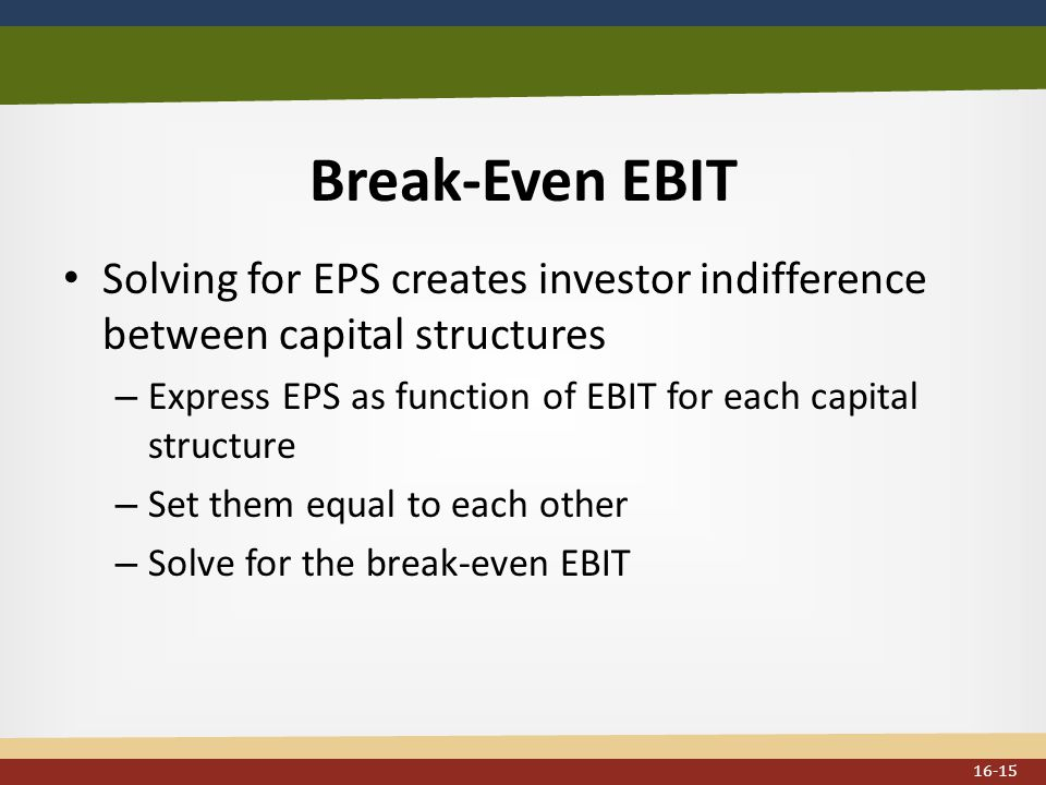 Break-Even EBIT Solving for EPS creates investor indifference between capital structures – Express EPS as function of EBIT for each capital structure – Set them equal to each other – Solve for the break-even EBIT 16-15