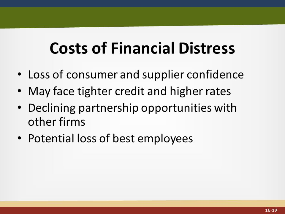 Costs of Financial Distress Loss of consumer and supplier confidence May face tighter credit and higher rates Declining partnership opportunities with other firms Potential loss of best employees 16-19