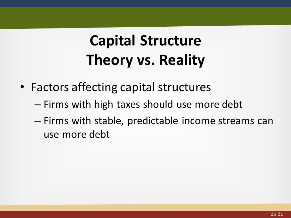 Capital Structure Theory vs.
