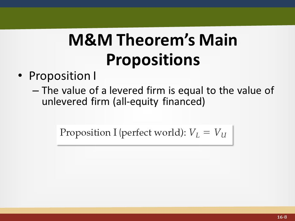 M&M Theorem's Main Propositions Proposition I – The value of a levered firm is equal to the value of unlevered firm (all-equity financed) 16-8
