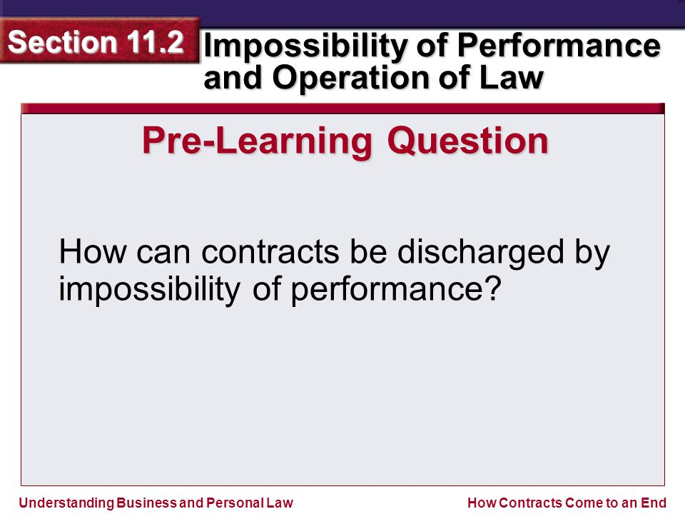 Understanding Business and Personal Law Impossibility of Performance and Operation of Law Section 11.2 How Contracts Come to an End Pre-Learning Question How can contracts be discharged by impossibility of performance