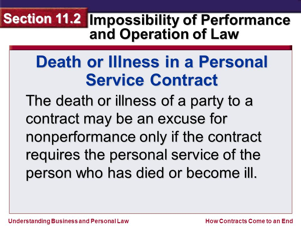 Understanding Business and Personal Law Impossibility of Performance and Operation of Law Section 11.2 How Contracts Come to an End The death or illness of a party to a contract may be an excuse for nonperformance only if the contract requires the personal service of the person who has died or become ill.