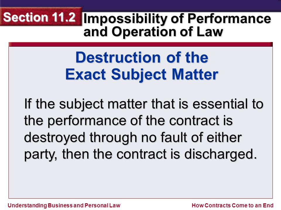 Understanding Business and Personal Law Impossibility of Performance and Operation of Law Section 11.2 How Contracts Come to an End If the subject matter that is essential to the performance of the contract is destroyed through no fault of either party, then the contract is discharged.