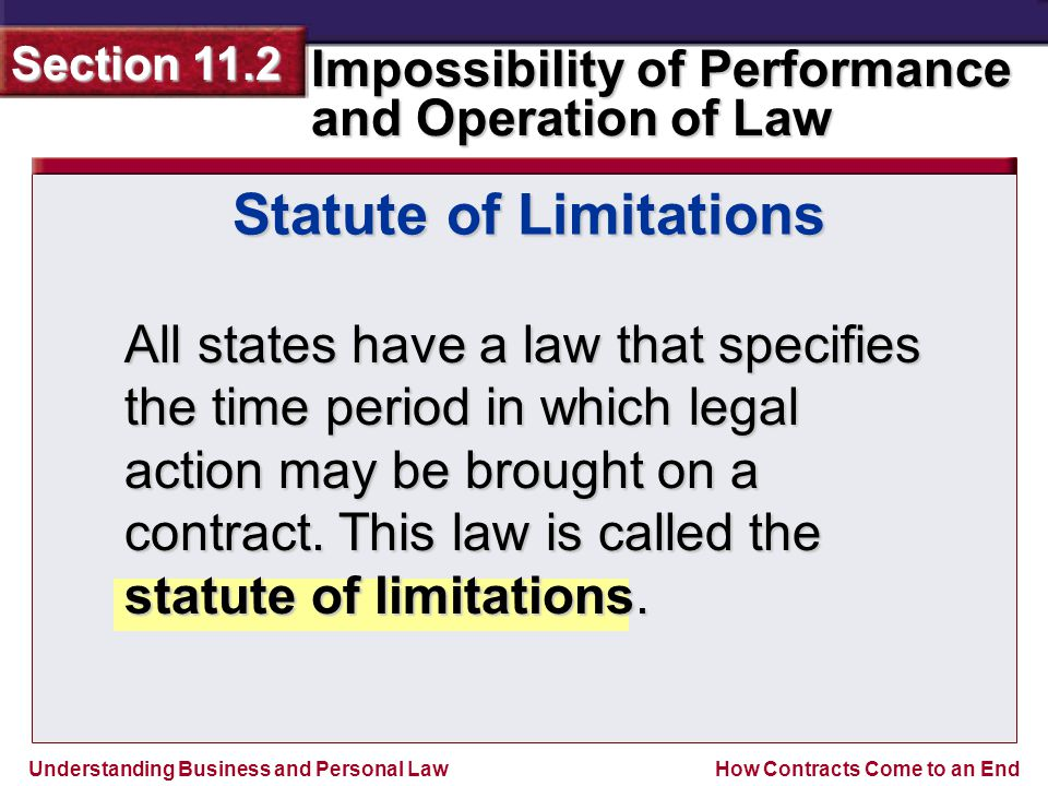 Understanding Business and Personal Law Impossibility of Performance and Operation of Law Section 11.2 How Contracts Come to an End All states have a law that specifies the time period in which legal action may be brought on a contract.