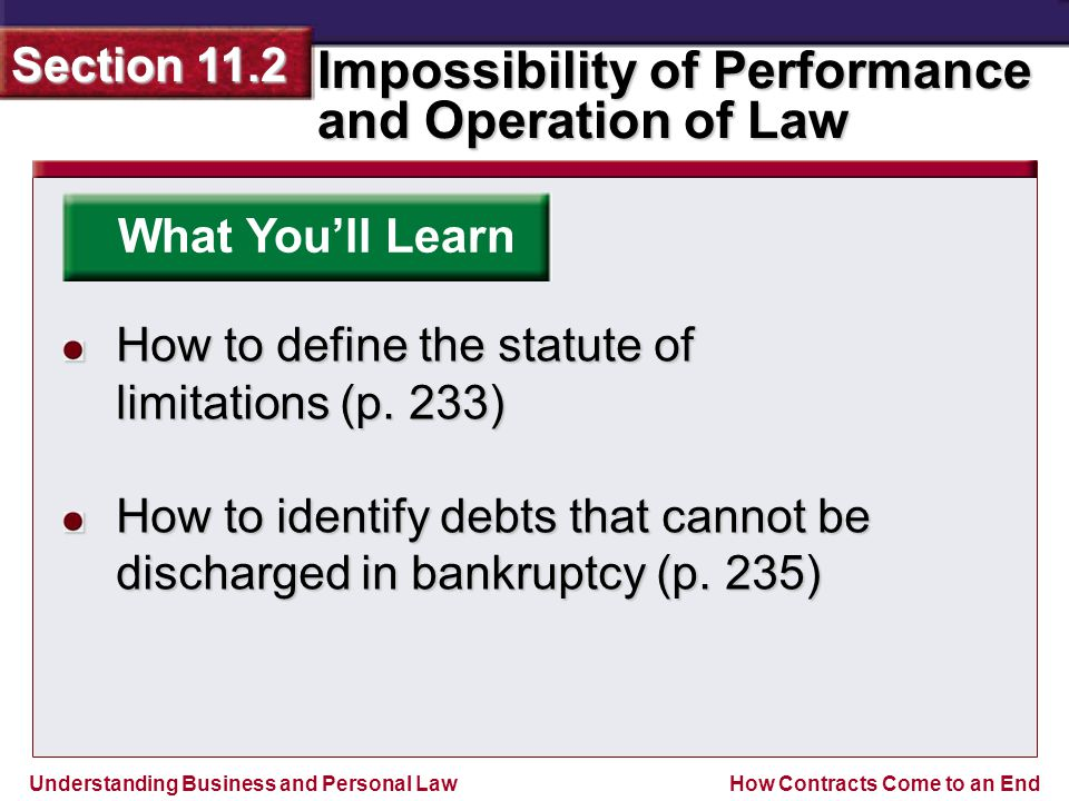 Understanding Business and Personal Law Impossibility of Performance and Operation of Law Section 11.2 How Contracts Come to an End Congress has the authority to pass bankruptcy laws, which are set procedures for discharging a debtor's obligations.