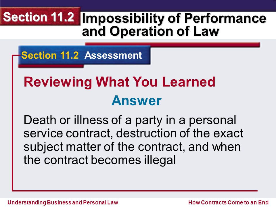 Understanding Business and Personal Law Impossibility of Performance and Operation of Law Section 11.2 How Contracts Come to an End Reviewing What You Learned Death or illness of a party in a personal service contract, destruction of the exact subject matter of the contract, and when the contract becomes illegal Section 11.2 Assessment Answer