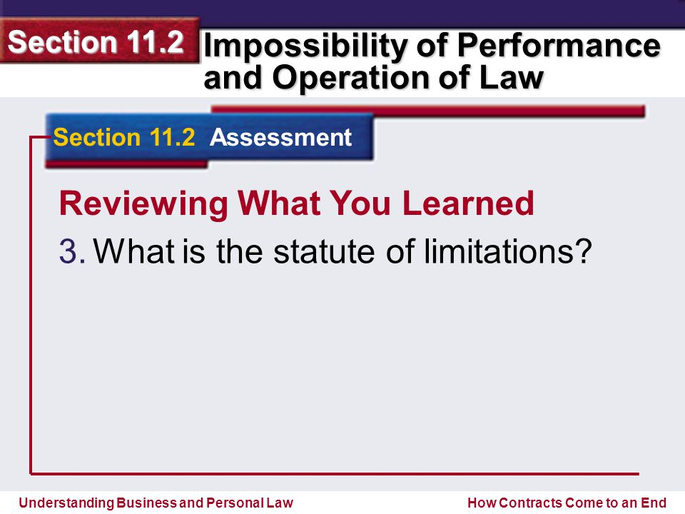 Understanding Business and Personal Law Impossibility of Performance and Operation of Law Section 11.2 How Contracts Come to an End Reviewing What You Learned 3.