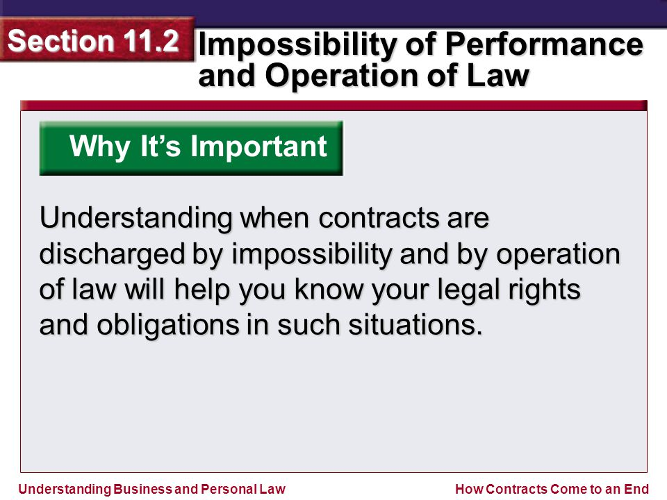 Understanding Business and Personal Law Impossibility of Performance and Operation of Law Section 11.2 How Contracts Come to an End Why It's Important Understanding when contracts are discharged by impossibility and by operation of law will help you know your legal rights and obligations in such situations.